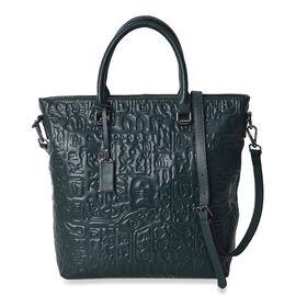 100% Genuine Leather Oracle Bone Script Pattern Bag with Detachable Shoulder Strap and External Zipp
