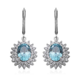 Ratanakiri Blue Zircon and Natural Cambodian Zircon Drop Halo Lever Back Earrings in Rhodium Overlay