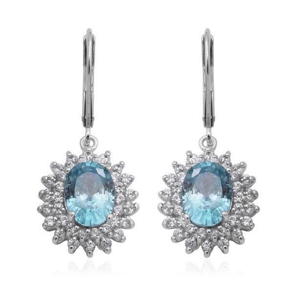 Ratanakiri Blue Zircon and Natural Cambodian Zircon Drop Halo Lever Back Earrings in Rhodium Overlay