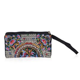 Embroidered Flower Pattern Clutch Bag with Zipper Closure (Size 18.5x10 Cm) - Multi