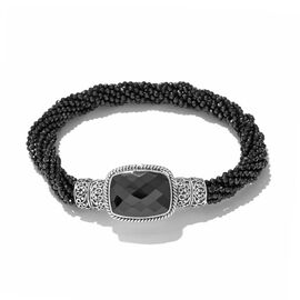 Designer Inspired-Boi Ploi Black Spinel (Cush Free Size) and Beads Bracelet (Size 8) in Sterling Silver with Magnetic Lock 131.640 Ct