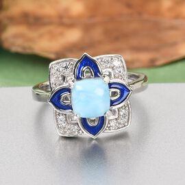 GP Italian garden Leaf & Flower Collection - Larimar, Natural Cambodian Zircon and Kanchanaburi Blue Sapphire Lotus Design Ring in Platinum Overlay Sterling Silver 1.600 Ct.