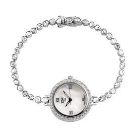 EON 1962 Polki Diamond and White Diamond Studded Watch (Size 8) in Platinum Overlay Sterling Silver