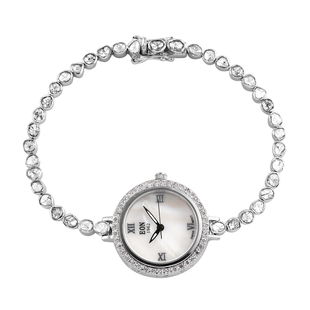 EON 1962 Polki Diamond and White Diamond Studded Watch (Size 7.5) in Platinum Overlay Sterling Silve
