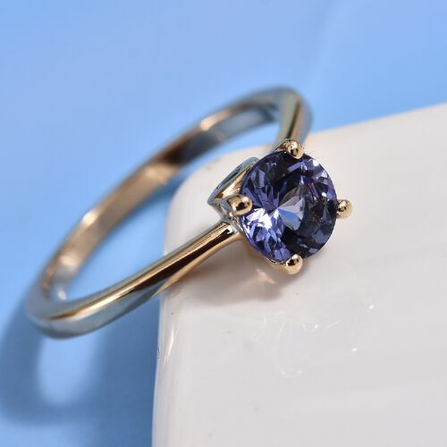One Time Close Out Deal -9K Yellow Gold Tanzanite (Rnd), Grandidierite Ring 1.00 Ct.
