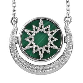 GP Malachite and Blue Sapphire Necklace (Size 18) in Platinum Overlay Sterling Silver 10.02 Ct.