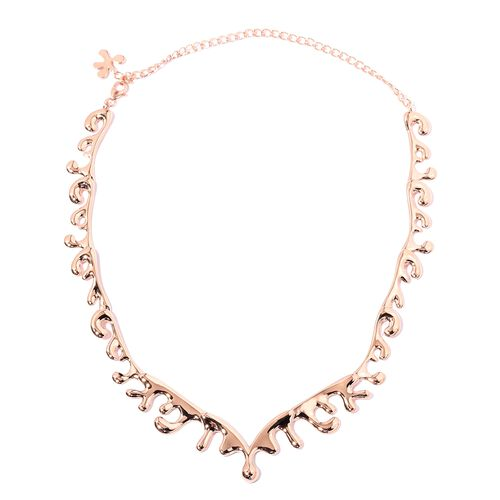 TJC Launch- LucyQ Sea Wave Necklace (Size 14 and 6 inch Extender) in Rose Gold Overlay Sterling Silv
