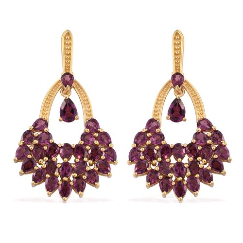 Designer Inspired - AAA Purple Garnet (Pear) Earrings (with Push Back) in 14K Gold Overlay Sterling Silver 10.250 Ct. Silver wt. 7.39 Gms.