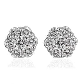 RHAPSODY 950 Platinum IGI Certified Diamond (VS/E-F) Floral Stud Earrings (with Screw Back) 1.00 Ct.