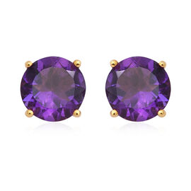 Zambian Amethyst (Rnd 10 mm) Stud Earrings (with Push Back) in Yellow Gold Overlay Sterling Silver 6