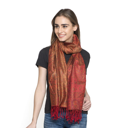 SILK MARK - 100% Superfine Silk Orange, Red and Multi Colour Jacquard Jamawar Scarf with Tassels (Si