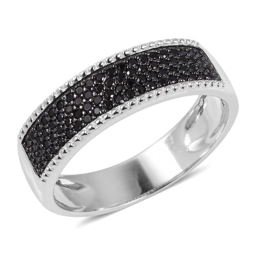 Micro Pave Set Boi- Ploi Black Spinel (Rnd) Ring in Sterling Silver.No Of Stones 80 Pcs