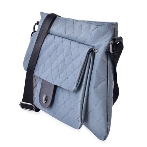 Grey Colour Diamond Pattern Crossbody Bag with Adjustable Shoulder Strap (Size 28x21.5 Cm)