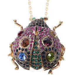 Safari Collection - Multi Colour Simulated Diamond and Multi Colour Austrian Crystal Ladybird Brooch
