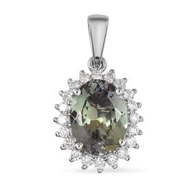 RHAPSODY 950 Platinum AAAA Peacock Tanzanite and Diamond (VS/E-F) Pendant 4.00 Ct.