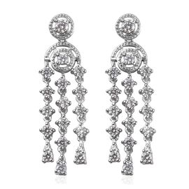 J Francis Made with SWAROVSKI ZIRCONIA Dangel Earrings in Platinum Plated Sterling Silver