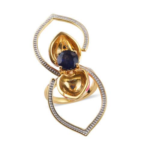 GP - Masoala Sapphire (Rnd), Natural Cambodian Zircon and Blue Sapphire Reveal Ring in 14K Gold Overlay Sterling Silver 2.65 Ct, Silver wt 8.37 Gms