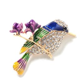 White Austrian Crystal (Rnd), Black Austrian Crystal Bird Brooch in Yellow Gold Tone with Enameled