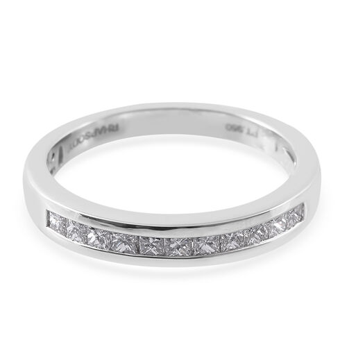 RHAPSODY 950 Platinum IGI Certified Diamond (Sqr) (VS/E-F) Half Eternity Ring 0.500 Ct.