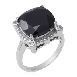 13.82 Ct Boi Ploi Black Spinel and Zircon Solitaire Design Ring in Rhodium Plated Silver 5 Grams