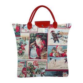 SIGNARE-Tapestry Collection - Xmas Santa Foldable Large Tote Bag (36 x 36 Cms)