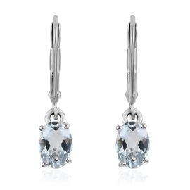 9K White Gold Espirito Santo Aquamarine (Ovl) Earrings 3.00 Ct.
