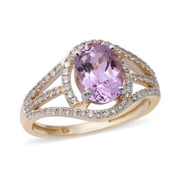 3.01 Ct Kunzite and Natural Cambodian Zircon Halo Ring in 9K Gold