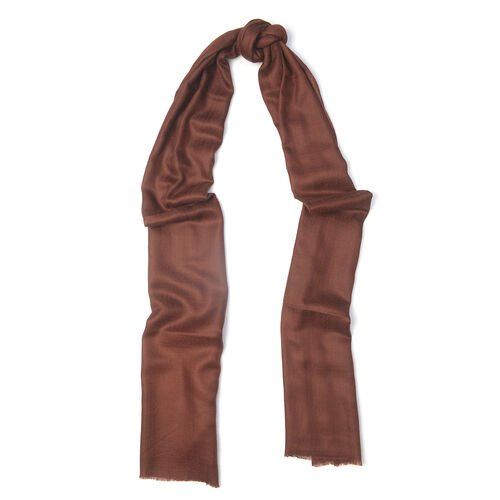 100% Cashmere Wool Brown Colour Ultra Soft Scarf (Size 190X70 Cm)