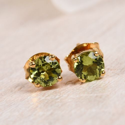 AA Hebei Peridot Stud Earrings (with Push Back) in 14K Gold Overlay Sterling Silver 1.00 Ct.