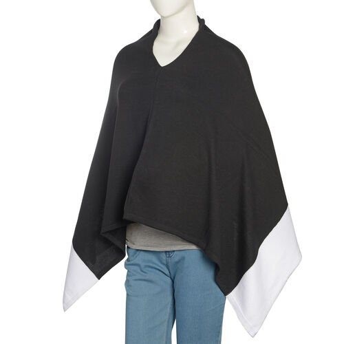 100% Cotton Black and White Colour Jacquard Poncho (One Size Fits All)