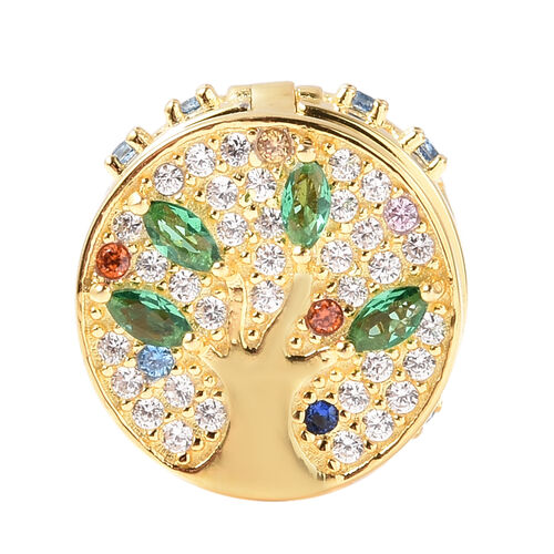 Charmes De Memoire- Simulated Emerald and Multi Colour Gemstone Openable Charm in Yellow Gold Overla