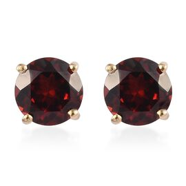 Mozambique Garnet Stud Earrings (with Push Back) in 14K Yellow Go2ld Overlay Sterling Silver 2.00 Ct