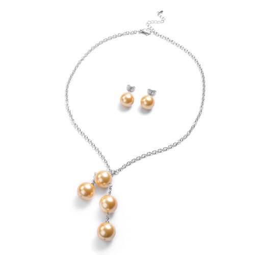 2 Piece Set - Golden Shell Pearl Necklace (Size 20) and Stud Earrings