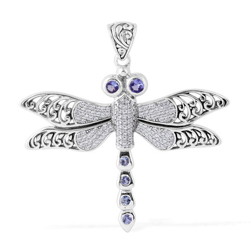 Tanzanite (Rnd), Natural Cambodian White Zircon Dragonfly Pendant in Sterling Silver 1.262 Ct.