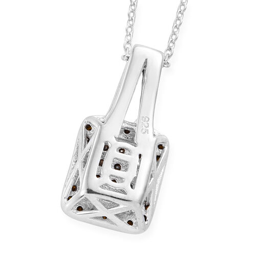 Red Diamond (Rnd) Pendant With Chain (Size 20) in Platinum Overlay Sterling Silver 0.330 Ct.