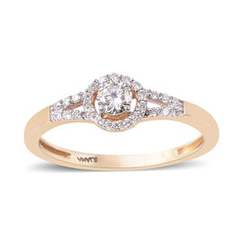 ILIANA 0.33 Ct Diamond Halo Ring in 18K Yellow Gold IGI Certified SI GH