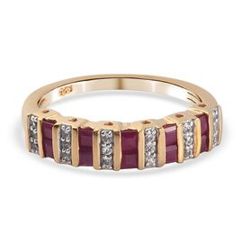 NY Close Out Deal - Burmese Ruby and Natural Cambodian Zircon Ring in 14K Gold Overlay Sterling Silv