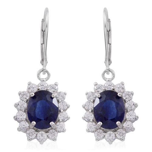 Madagascar Blue Sapphire (Ovl), Natural White Cambodian Zircon Lever Back Earrings in Rhodium Plated Sterling Silver 9.250 Ct.