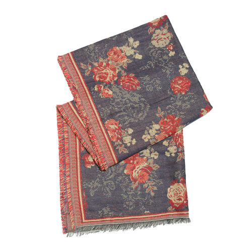 Red, Navy and Multi Colour Rose Pattern Scarf with Fringes (Size 190X70 Cm)
