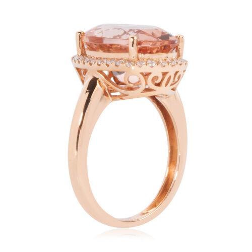 Signature Collection- ILIANA 18K Rose Gold AAA Mozambique Morganite (Ovl 14x10mm) and Diamond (SI/G-H) Ring 5.250 Ct.