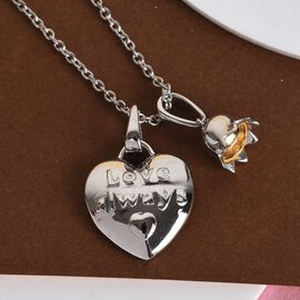 Platinum and Yellow Gold Overlay Sterling Silver Heart & Flower Pendant With Chain (Size 18), Silver