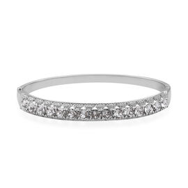 J Francis Made with Swarovski Crystal Hinge Bangle in Silver Tone 7.5 Inch