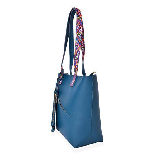 Teal Colour Handbag (Size 41X29.5X27.5X13 Cm) with Multi Colour Shoulder Strap and Pouch (Size 20X12.5 Cm)