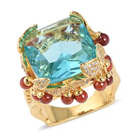 Simulated Aquamarine (Cush), Simulated Garnet and Simulated Diamond Ring in Gold Plated