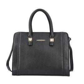 Black Satchel Bag with Zipper Closure and Adjustable Shoulder Strap (Size 35x9x27 Cm)