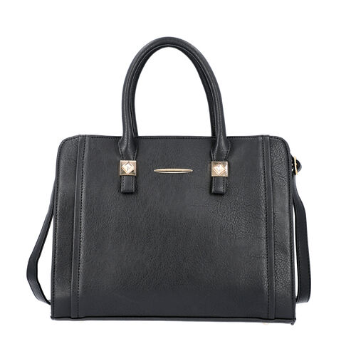 Black Satchel Bag with Zipper Closure and Adjustable Shoulder Strap (Size 35x9x27 Cm)