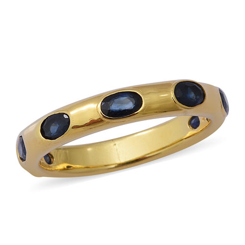 2.03 Ct Kanchanaburi Blue Sapphire Band Ring in Gold Plated Sterling Silver