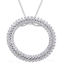 Designer Inspired - Firecracker Diamond (Bgt) Circle Pendant with Chain in Platinum Overlay Sterling