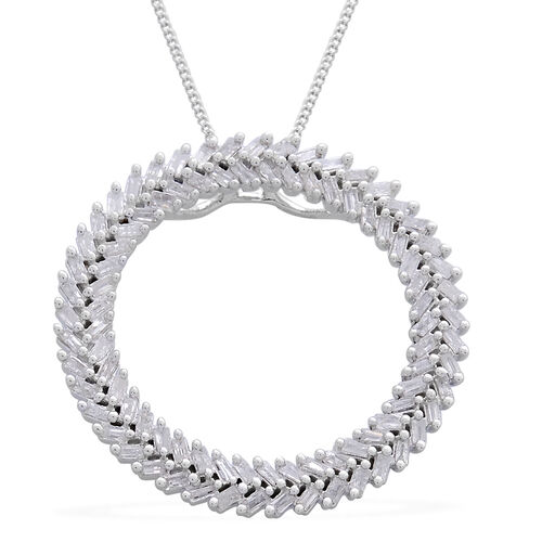 Designer Inspired - Firecracker Diamond (Bgt) Circle Pendant with Chain in Platinum Overlay Sterling