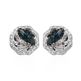 White and Blue Diamond Stud Earrings (with Push Back) in Platinum Overlay Sterling Silver 0.05 Ct